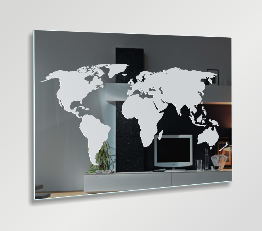 Weltkarte globus motivspiegel spiegel gravur bild sammler for Bild spiegel