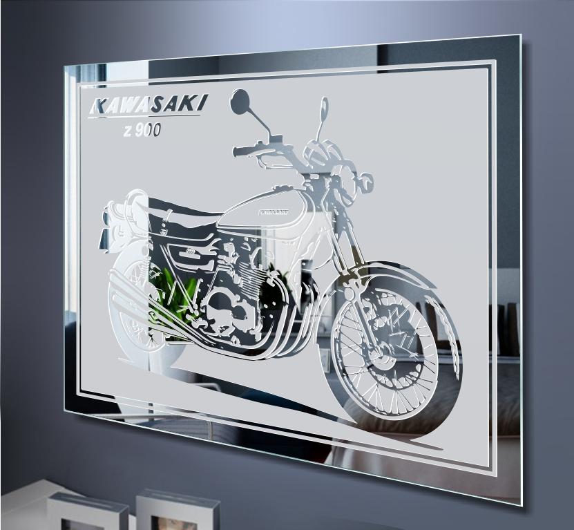 kawasaki z900 motorrad bike motivspiegel spiegel gravur. Black Bedroom Furniture Sets. Home Design Ideas